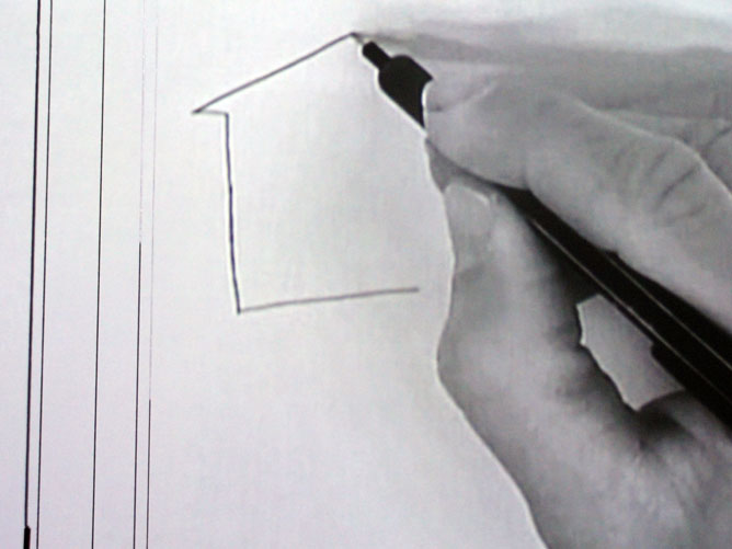 un'illustrazione si compone su un foglio bianco