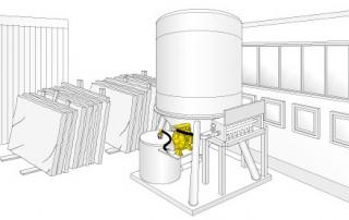 Illustrazione di una pompa a membrana in un uso dove si lavora il marmo
