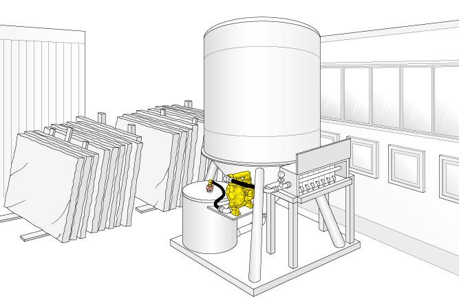 Illustrazione realizzata da studiodz: ambientazione pompa a membrana