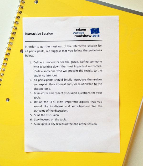 le istruzioni per l'uso della sessione interattiva tekom