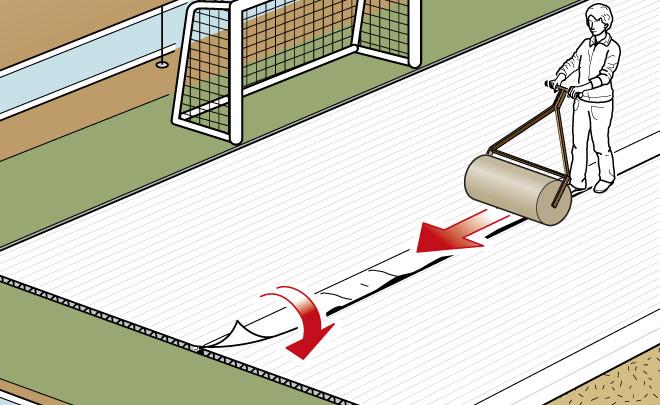 Studiodz applicazione isolante in un campo da calcio