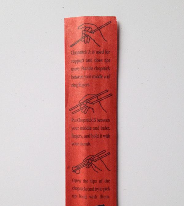involucro di bacchette cinesi con le istruzioni illustrate che insegnano ad usarli