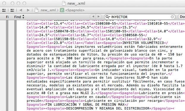 porzione di xml della traduzione in spagnolo