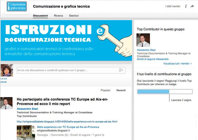 Pagina del Gruppo Linkedin Comunicazione e Grafica Tecnica