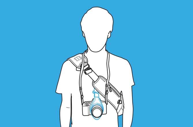 esempio d'uso di una cinghia per fotocamera