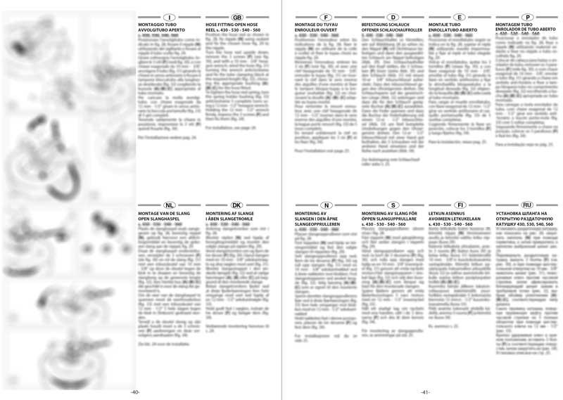 Due pagine di un manuale multilingua (12lingue)