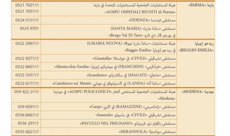 esempio tabella arabo