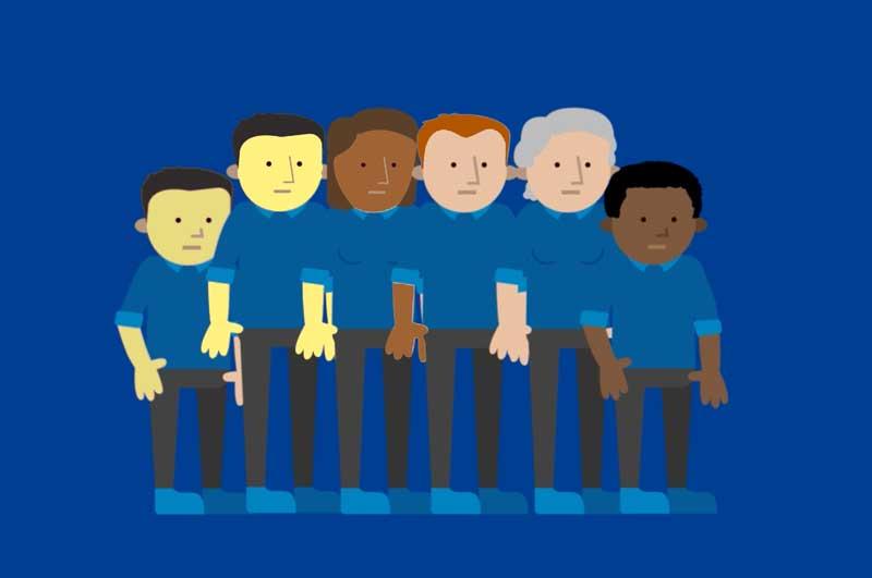 illustrazioen che rappresenta un gruppo di persone di diversa etnia